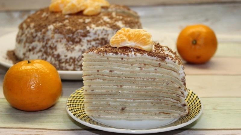 Изумителеьный десерт для любителей блинчиков: блинный торт с творожным кремом